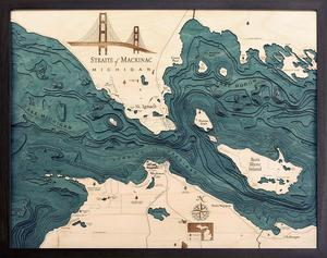 "Straits of Mackinac, Michigan 3-D Nautical Wood Chart, Large, 24.5"" x 31"" SM-D2L"